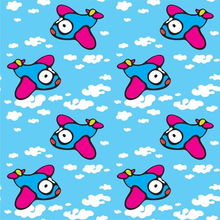 Seamless texture with the image of a cartoon airplane in the clouds  Vector Vector