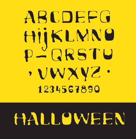 Vector fonts  Black letters on a yellow background Vector