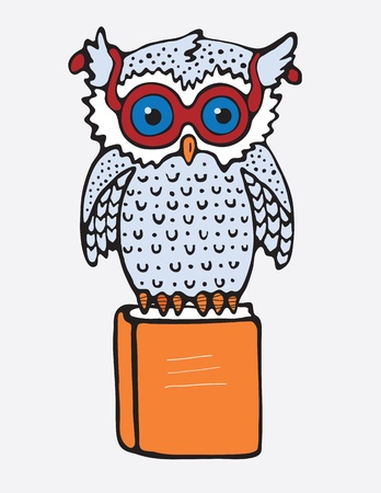 Vector image  Owl that sits on the orange book Vector