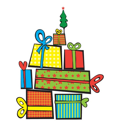 Vector pile of Christmas gifts, on top of a small tree with a stares Vector