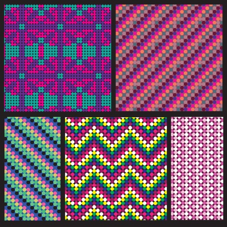 Seamless patterns set: zigzags, flowers, vertical, diagonal Illustration