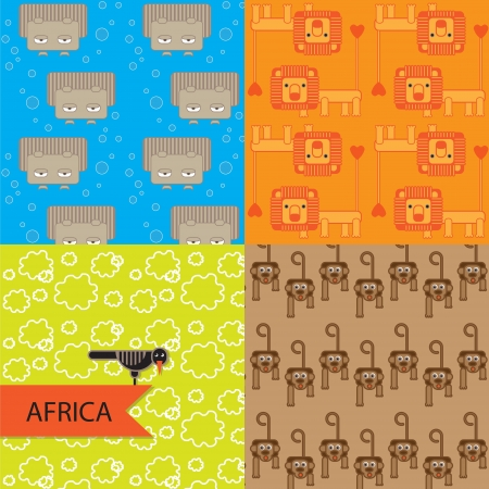 Vector art  A set of seamless textures  African animals Vector
