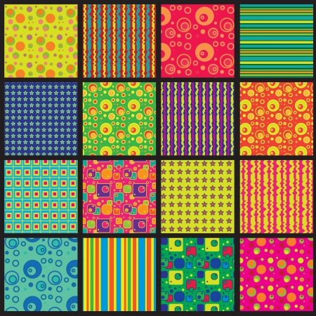 Vector illustration  Sixteen variations of geometric abstract pattern Vector