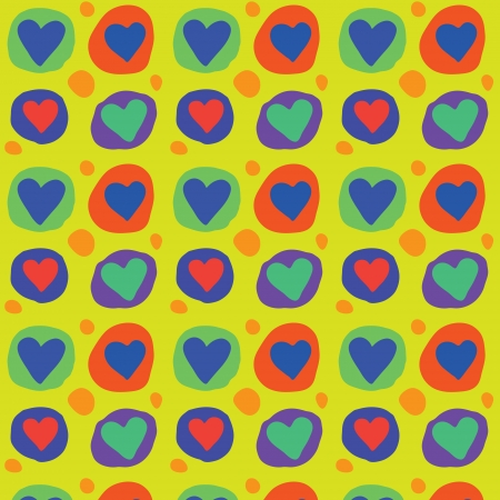 Seamless colorful heart vector pattern Stock Vector - 16003372