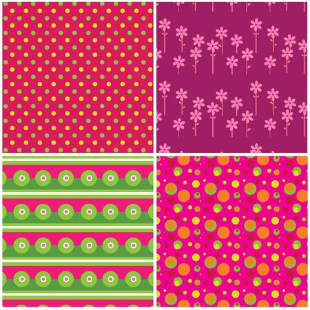 Four colorful seamless patterns with fabric texture Stock Vector - 16003286