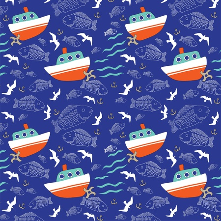 flying boat: seamless  Fishing boat in the sea Illustration