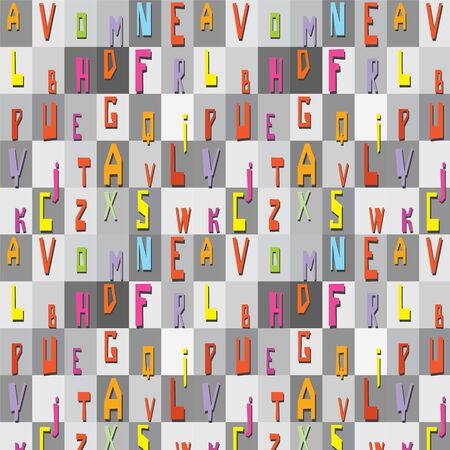 Seamless texture of bright letters for paper, wallpaper and packaging Stock Vector - 16003379