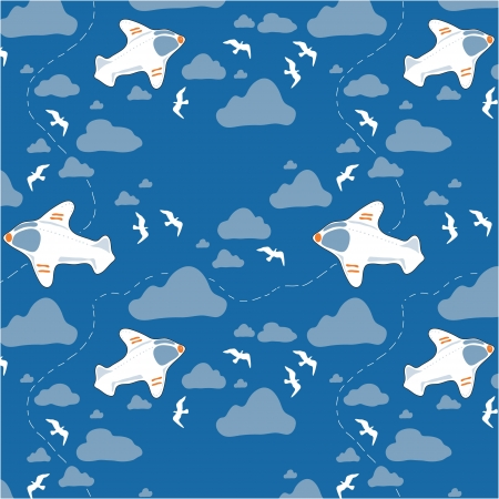 Vector illustration  Seamless texture with airplanes, clouds and birds Vector