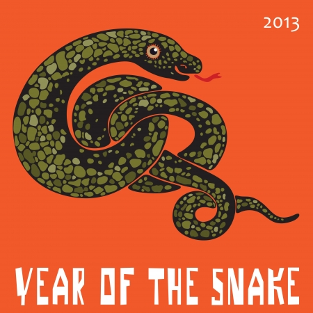 Vector poster  Image of a large snake curled on an orange background Vector