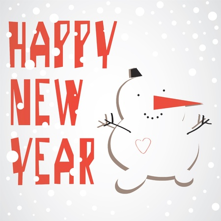 Vector  Cute snowman and the text