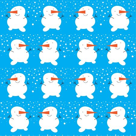 carrot nose: Cartoon snowman seamless pattern  Vector  Illustration