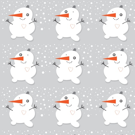 Cartoon snowman seamless pattern  Vector  Illustration Stock Vector - 16003188