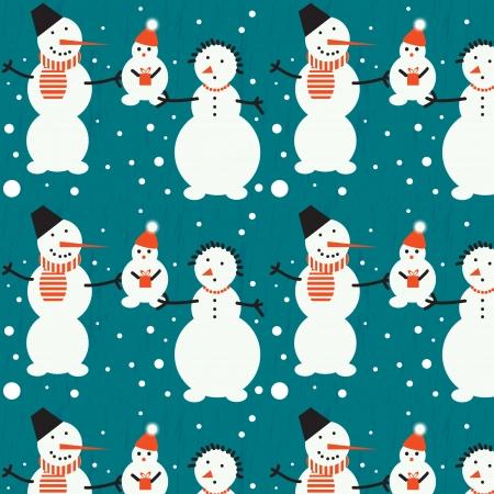 Seamless image of cheerful snowmen  Vector Vector