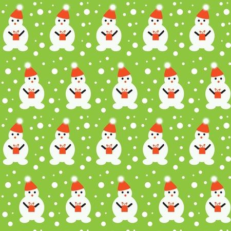 Vector art  Seamless texture of little snowmen and snowflakes Illustration