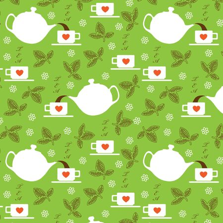 Seamless with elements of tea  white teapot, cup and tea leaves Vector