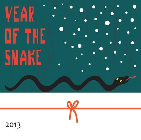 Vector poster  Cartoon image of a snake crawling through the snow Vector