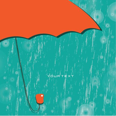 Vector abstract background  Red umbrella in the rain Vector