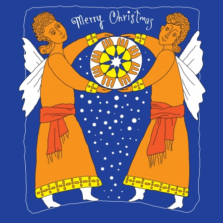 Vector art  Figure two angels who keep the Christmas star Vector