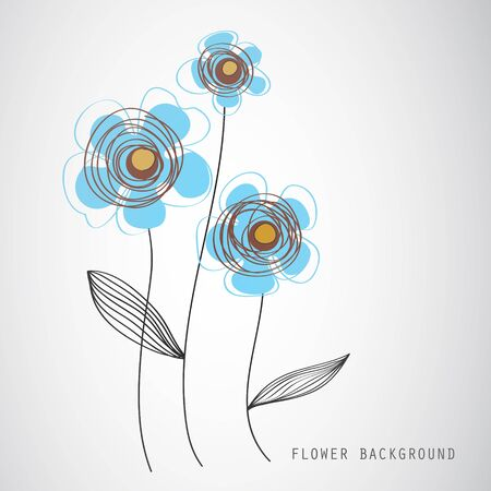 Vector art  Image of three flowers on gradient background