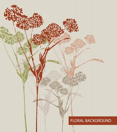 Vector art  Abstract striped background with floral elements Vector