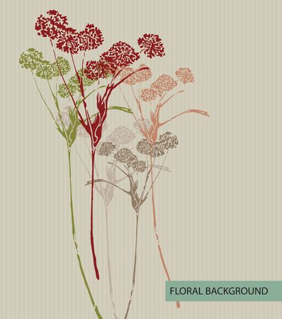 an inflorescence: Vector art  Abstract striped background with floral elements Illustration