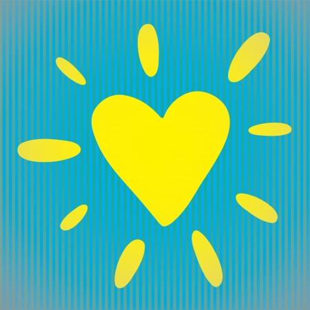 Heart vector illustration as design element  Heart-shaped sun