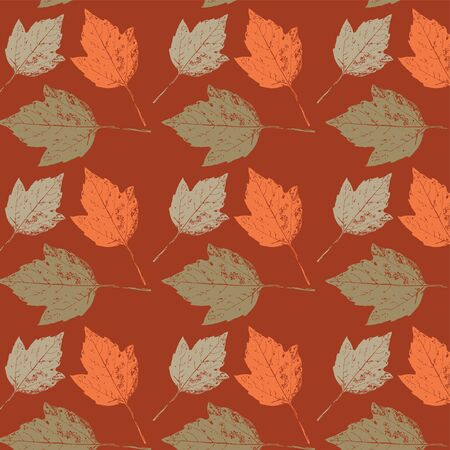 Autumn background with leaves  Seamless texture  Vector illustration