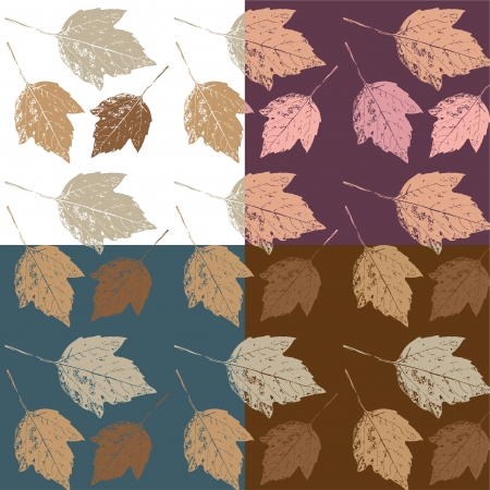 Set of seamless texture  Autumn background with leaves  Vector illustration Stock Vector - 16440697