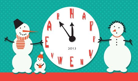 Vector art. Snowman holding a large clock in anticipation of New Year holiday Illustration