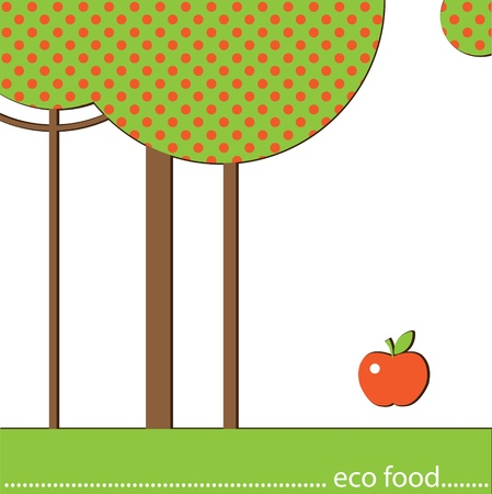 Three trees and an apple on a white background. Eco design Stock Vector - 16844013