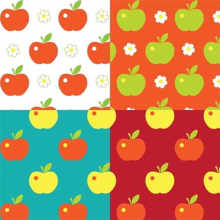 Seamless cute bright colorful apple pattern . Set patterns Stock Vector - 16844111