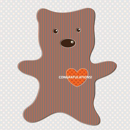 Cute teddy bear with polka dot background Vector