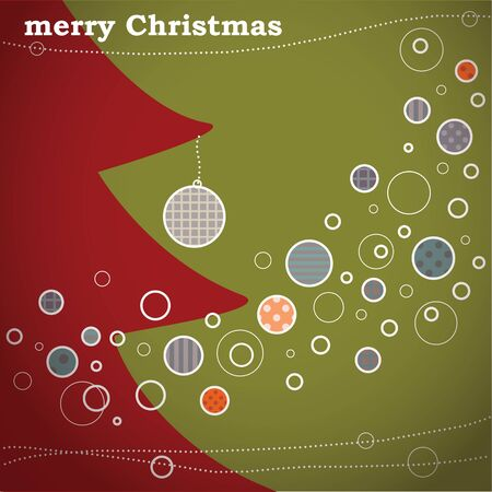 Retro Merry Christmas Card With Christmas Tree  Vector