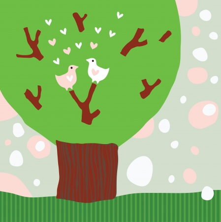 Silhouette of stylized tree with birds in love Vector