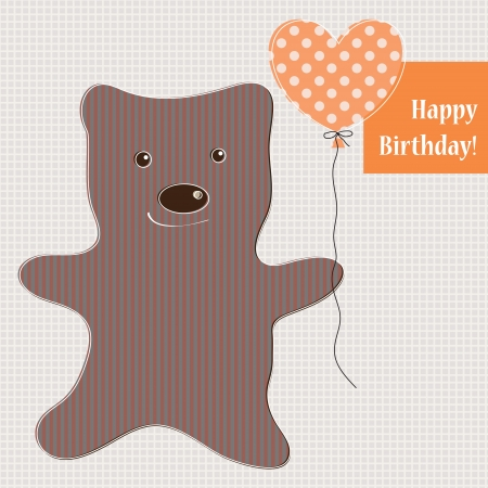 Cute teddy bear vector with polka dot background Vector