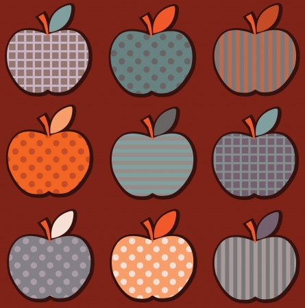 Set cute bright colorful apple pattern in vector Stock Vector - 17224298