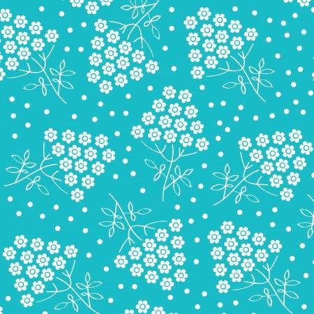 White flower pattern on blue background  Vector art Illustration