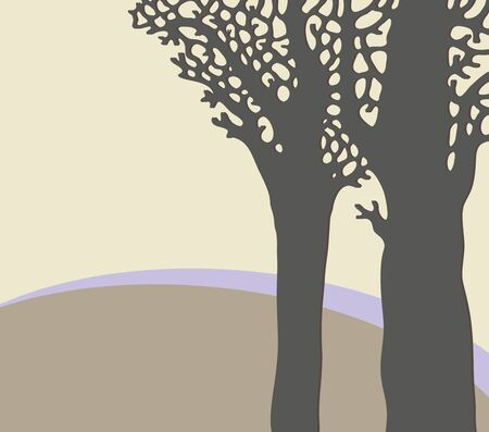 Abstract landscape with trees  Vector art Stock Vector - 17224228