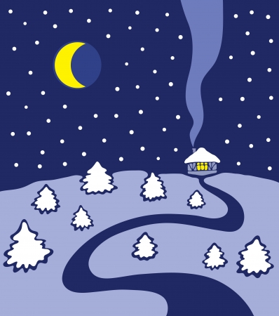 Winter landscape with big moon, road and house Stock Vector - 17224249