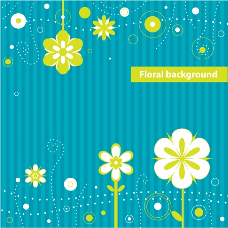 Decorative flowers on a striped blue background  Vector art Stock Vector - 17224278