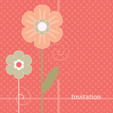 Decorative flowers on a pink polka dot background  Vector art Stock Vector - 17224277