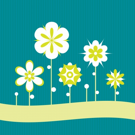 Decorative flowers on a striped blue background  Vector art Stock Vector - 17224268