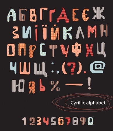 Set of letters and numbers on a retro background  Cyrillic alphabet Vector