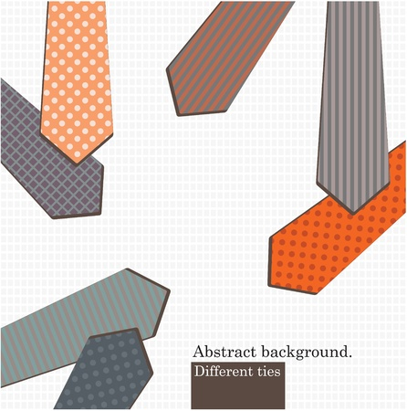 ironed: Vector art. Set  of different ties. Vintage