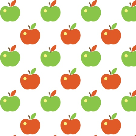 Seamless cute apple pattern Vector