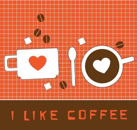 Coffee cup with heart  Card Illustration
