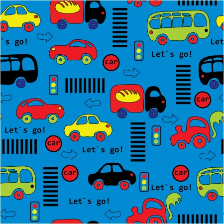 Seamless pattern with colorful little cars Vector
