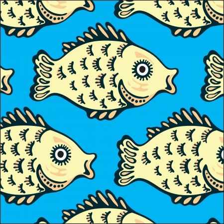 Seamless texture of the image sets of fish Vector