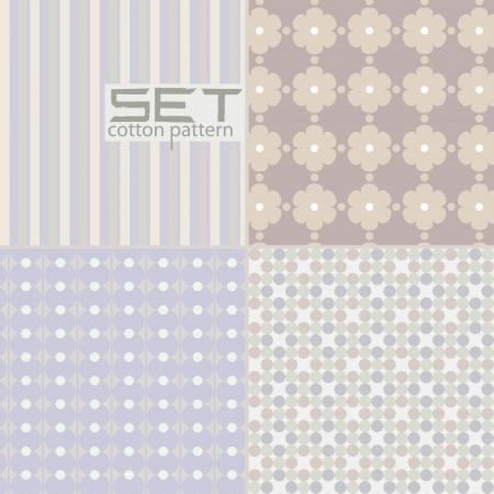 Set pattern  Four seamless pastel art