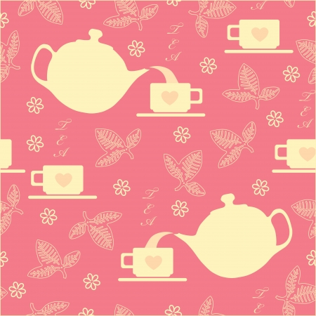 macaron: Seamless with a cup and a kettle on a pink background Illustration